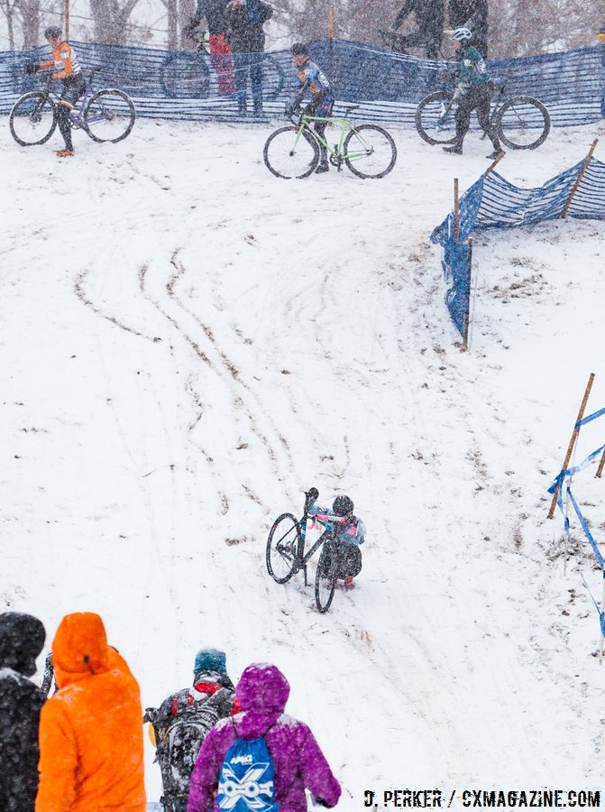 Lapped racers watched each other to figure out the fastest or safest way to get down the hill. 2017 Cyclocross National Championships, © D. Perker / Cyclocross Magazine