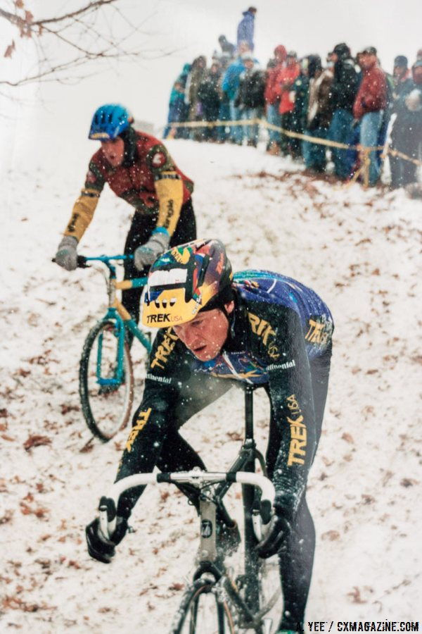 Northern California-based racers Don Myrah and Justin Robinson braving the New England snow. Robinson still races, and landed two podiums in Hartford, 21 years later. © A. Yee