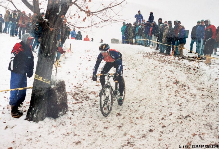 Jan Wiejak in control on his Alan aluminum cyclocross bike with Spinergy wheels and tubular tires. The 1995 Cyclocross National Championships in Leicester, Mass. © A. Yee