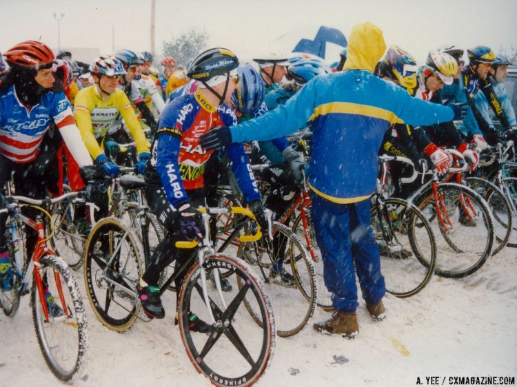 Spinergy wheels, flat bars, 45c tires and mountain bikes were all allowed, but the racing was still a slippery, competitive affair. 1995 Cyclocross National Championships. © A. Yee