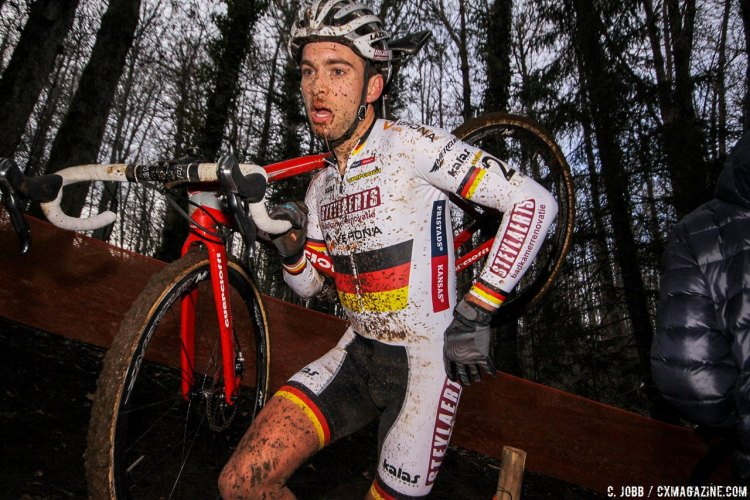 German National Champ Marcel Meisen finished strong in second. 2017 Fiuggi UCI Cyclocross World Cup. Elite Men. Italy. © C. Jobb / Cyclocross Magazine