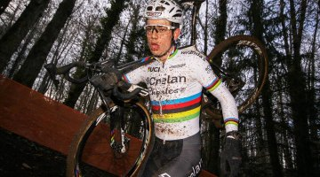 Wout Van Aert ran away from the field in Italy. 2017 Fiuggi UCI Cyclocross World Cup. Elite Men. Italy. © C. Jobb / Cyclocross Magazine