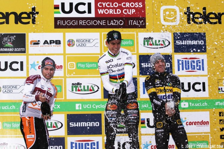 L to R: Meisen, Van Aert and Meeusen. 2017 Fiuggi UCI Cyclocross World Cup. Elite Men. Italy. © C. Jobb / Cyclocross Magazine