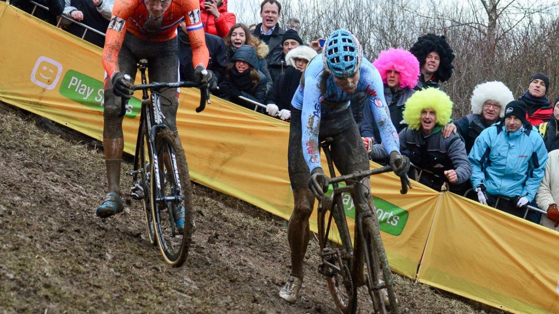 Wout van Aert and Mathieu van der Poel in the middle of their mid-race Beautiful Duel before MVDP's fourth flat tire - 2017 UCI Cyclocross World Championships, Bieles, Luxembourg. © C. Jobb / Cyclocross Magazine