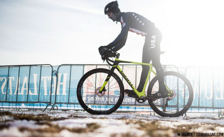 Denzel Stephenson, our new Junior Men's National Champion, will have the spotlight on him Saturday morning. UCI Cyclocross World Championships, Bieles, Luxembourg. 1/27/2017 Training. © M. Hilger / Cyclocross Magazine