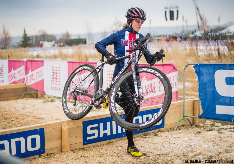 Amand Miller is ready to cap off her best-ever season. UCI Cyclocross World Championships, Bieles, Luxembourg. 1/27/2017 Training. © M. Hilger / Cyclocross Magazine