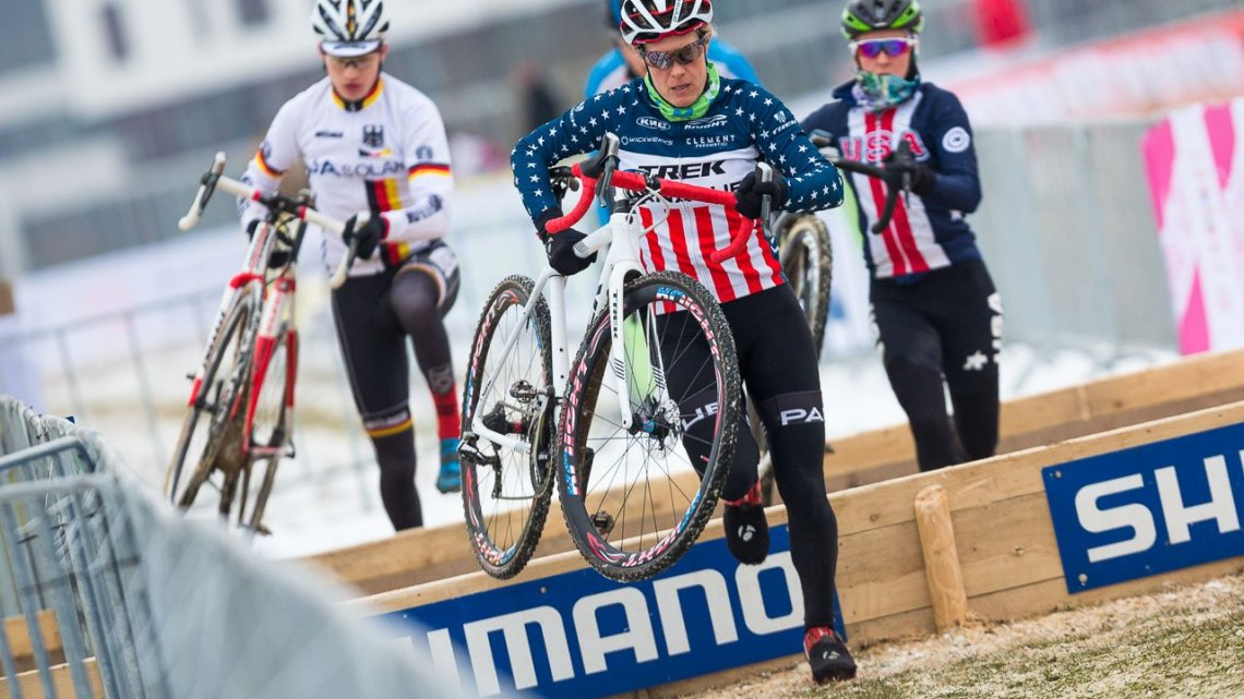 Compton leads the pack in recon, and leads the Americans in most medals at Words. UCI Cyclocross World Championships, Bieles, Luxembourg. 1/27/2017 Training. © M. Hilger / Cyclocross Magazine