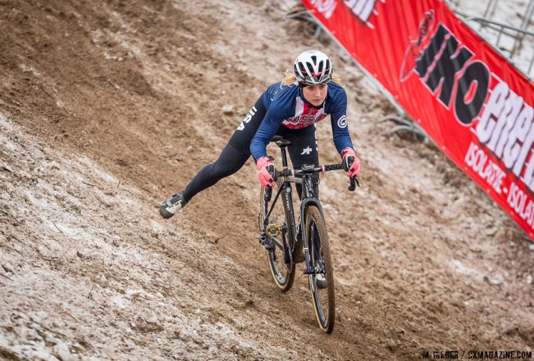 Ellen Noble (USA) in control on the course's trickiest section. UCI Cyclocross World Championships, Bieles, Luxembourg. 1/27/2017 Training. © M. Hilger / Cyclocross Magazine
