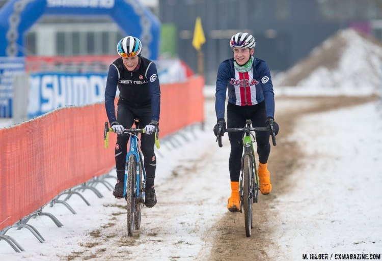 Lance Haidet and Cooper Willsey share a smile while out on course recon. UCI Cyclocross World Championships, Bieles, Luxembourg. 1/27/2017 Training. © M. Hilger / Cyclocross Magazine