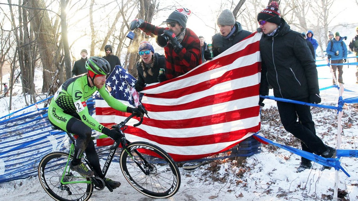Hyde riding towards his first Stars 'n' Stripes. 2017 Cyclcross National Championship, Elite Men. © C. Fegan-Kim / Cyclocross Magazine