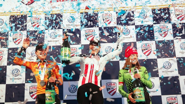 Katie Compton, Amanda Miller and Kaitie Antonneau under the confetti shower. 2017 Cyclocross National Championship, Elite Women. © C. Fegan-Kim / Cyclocross Magazine