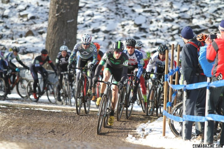The race through the first turn. 2017 Cyclocross National Championships, Masters Men 55-59. © D. Mable / Cyclocross Magazine