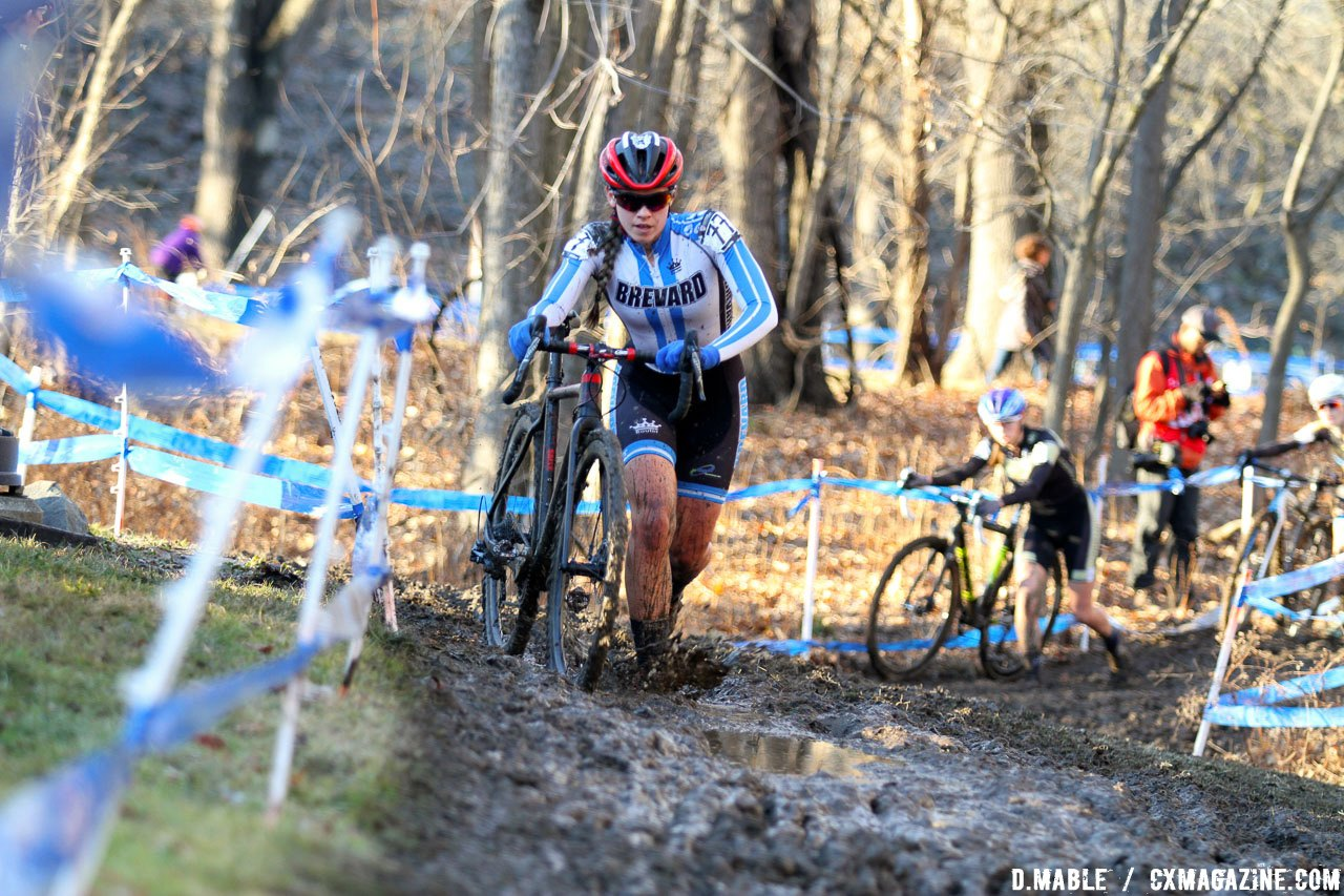 Allison Arensman in the lead before Finchamp comes back. 2017 Cyclocross National Championships, Women's Collegiate Varsity Race. © D. Mable / Cyclocross Magazine
