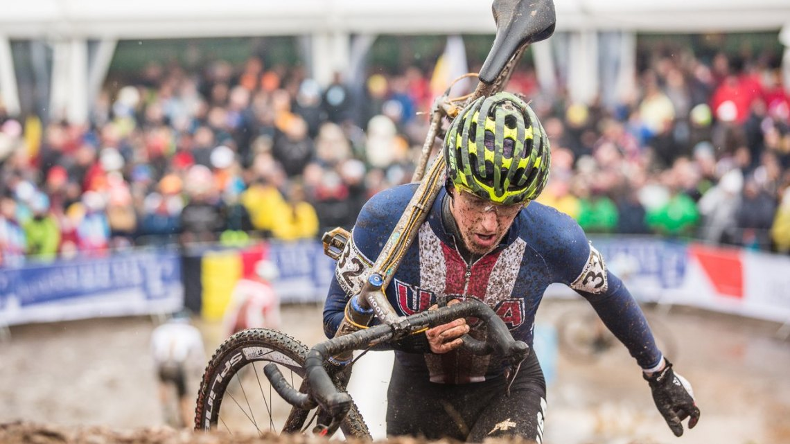 Gage Hecht climbed the steeps of Bieles to 31st. U23 Men. 2017 UCI Cyclocross World Championships, Bieles, Luxembourg. © M. Hilger / Cyclocross Magazine