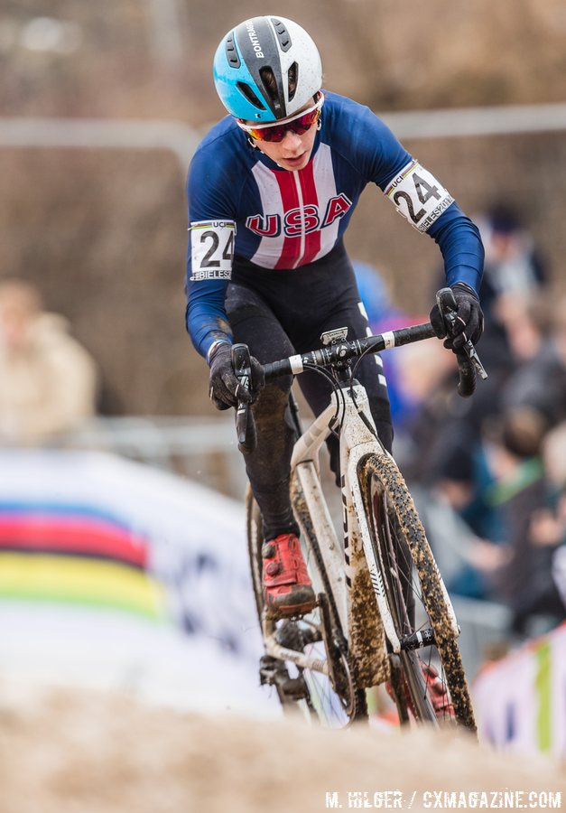 Like some pros, Swartz had the then-new white Boone RSL at Bieles Worlds. 2017 UCI Cyclocross World Championships, Bieles, Luxembourg. © M. Hilger / Cyclocross Magazine