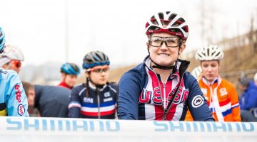 After a great season, Ellen Noble had plenty to smile about at the start line. U23 Women, 2017 UCI Cyclocross World Championships, Bieles, Luxembourg. © M. Hilger / Cyclocross Magazine