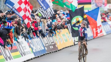 Noble was ecstatic with her silver medal-winning ride. 2017 UCI Cyclocross World Championships, Bieles, Luxembourg. © M. Hilger / Cyclocross Magazine