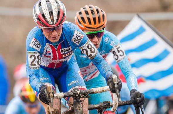 Katerina Nash leads the chase up the tricky off-camber climb. 2017 UCI Cyclocross World Championships, Bieles, Luxembourg. © M. Hilger / Cyclocross Magazine
