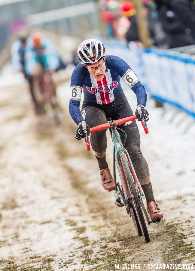 Katie Compton had a solid day until a crash wrecked her derailleur and ended her day. 2017 UCI Cyclocross World Championships, Bieles, Luxembourg. © M. Hilger / Cyclocross Magazine