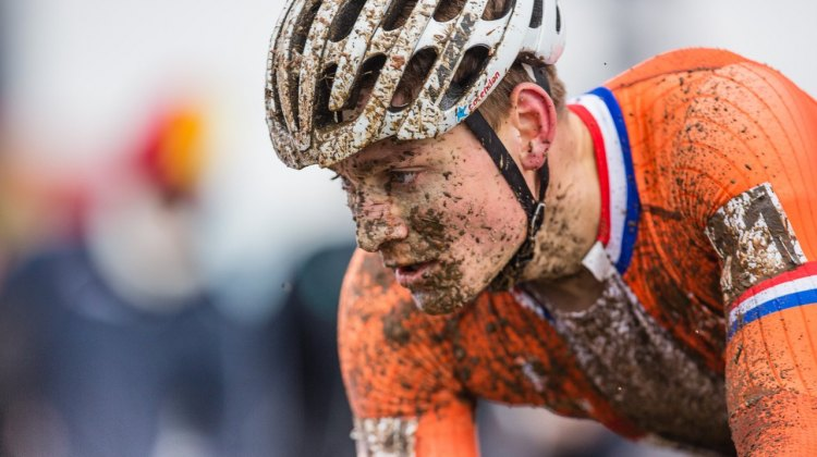 Mathieu van der Poel suffered four flat tires and a deflated dream. Elite Men. 2017 UCI Cyclocross World Championships, Bieles, Luxembourg. © M. Hilger / Cyclocross Magazine