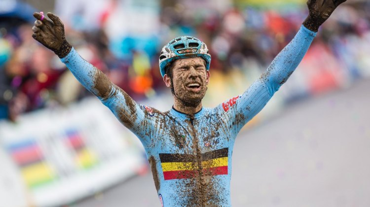Wout van Aert is in disbelief with his title defense. Elite Men. 2017 UCI Cyclocross World Championships, Bieles, Luxembourg. © M. Hilger / Cyclocross Magazine