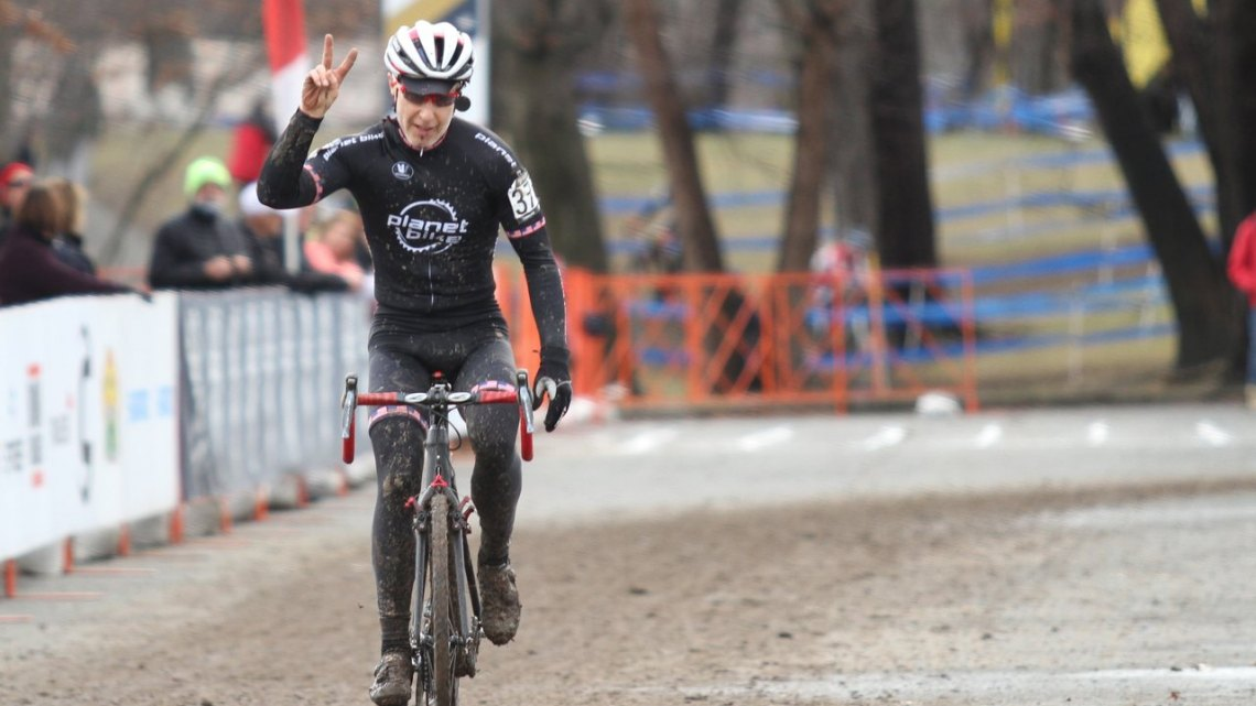 Two titles for Downs. 2017 Cyclocross National Championships, Masters Men 65-69. © D. Mable / Cyclocross Magazine
