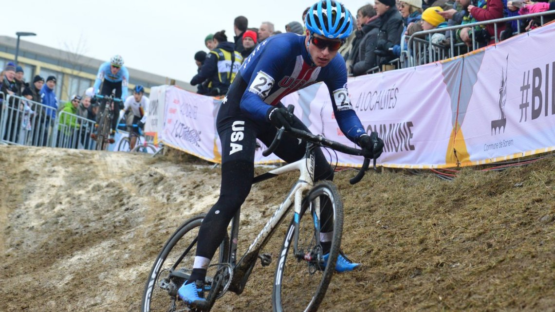 Denzel Stephenson slid his way to a top-ten finish in 9th. Junior Men - 2017 UCI Cyclocross World Championships, Bieles, Luxembourg. © C. Jobb / Cyclocross Magazine