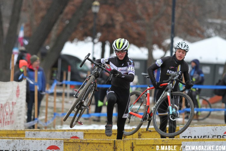 Dylan Zakrajsek over the barriers. 2017 Cyclocross National Championships, Juniors Men 13-14. © D. Mable / Cyclocross Magazine