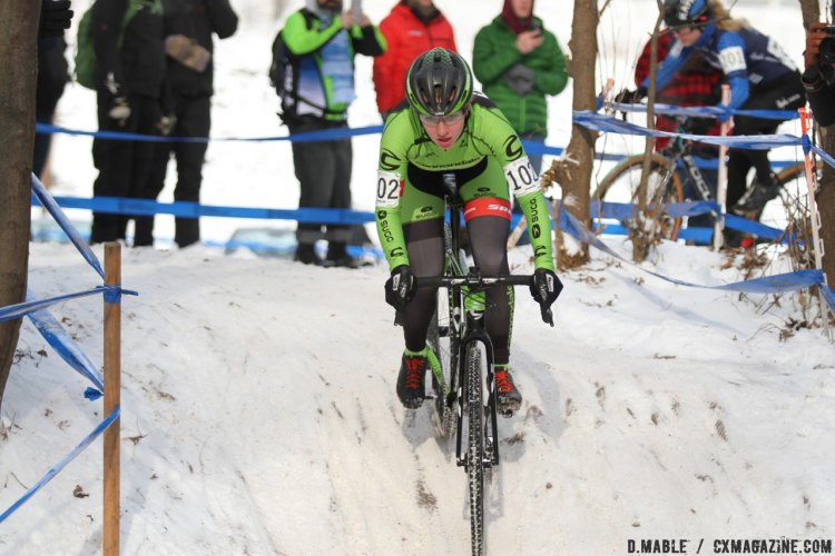 Emma White (Cannondale Cyclocross) took an early lead after a solid start. 2017 Cyclocross National Championships, Women U23. © D. Mable / Cyclocross Magazine