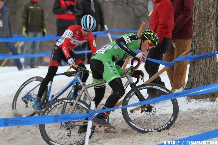 Even the leaders had trouble with the off-camber icy turns. 2017 Cyclocross National Championships - U23 Men. © D. Mable / Cyclocross Magazine