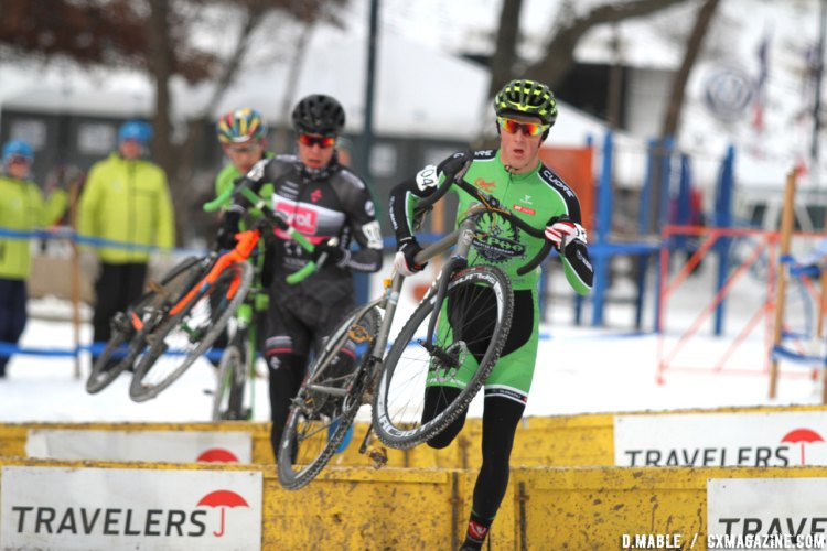 Gage Hecht, Maxx Chance and Curtis White battled for much of the race. 2017 Cyclocross National Championships - U23 Men. © D. Mable / Cyclocross Magazine