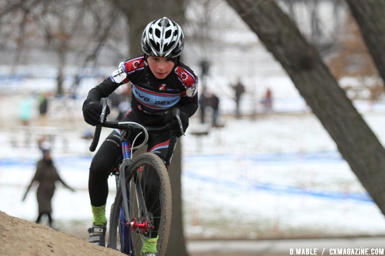 Wesley Haggstrom (Evolution Jr. Devo Team) tackles the off-camber. Haggstrom would finish in second place by 12 seconds. 2017 Cyclocross National Championship Junior Men 11-12. © D. Mable / Cyclocross Magazine