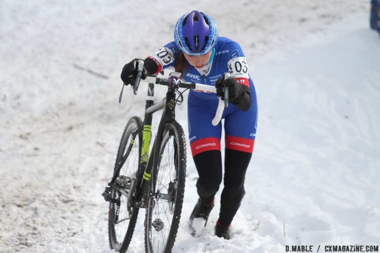 Hannah Finchamp (UCI MTB: Clif Pro Team) trudged through the fresh snow, moving into third in the final half of the race. 2017 Cyclocross National Championships, Women U23. © D. Mable / Cyclocross Magazine