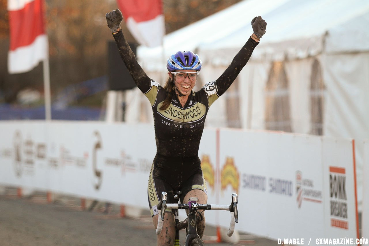 Hannah Finchamp celebrates her comeback win. 2017 Cyclocross National Championships, Women's Collegiate Varsity Race. © D. Mable / Cyclocross Magazine