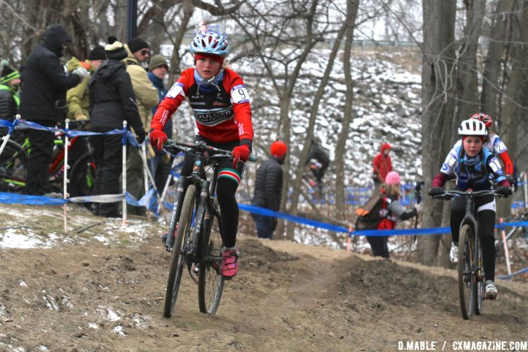 Haydn Hludzinski leads her good friend Kaya Musgrave. 2017 Cyclocross National Championships, Junior Women 11-12. © D. Mable / Cyclocross Magazine
