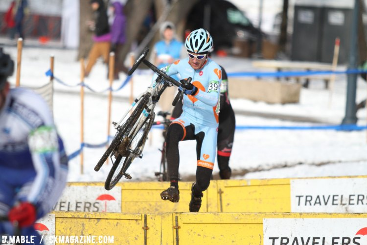 Daniel Dombroski (Amy D. Foundation) over the barriers. 2017 Cyclocross National Championships Masters Men 35-39. © D. Mable / Cyclocross Magazine