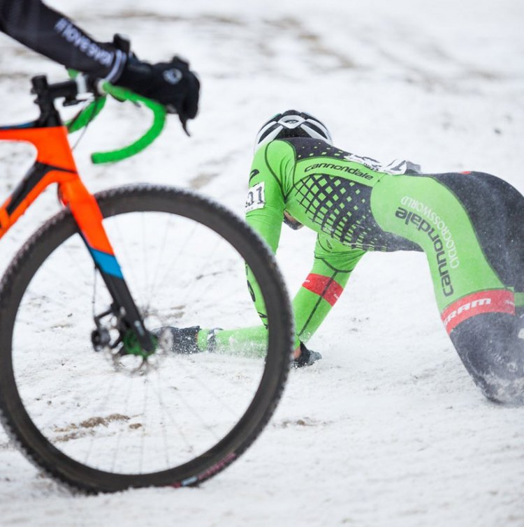 Curtis White had a tough afternoon including this crash. 2017 Cyclocross National Championships © D. Perker / Cyclocross Magazine