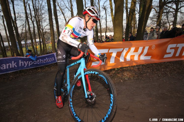 Katie Compton was riding well until a crash ended her chances of seeing the front. 2017 Hoogerheide World Cup Elite Women. © C. Jobb / Cyclocross Magazine
