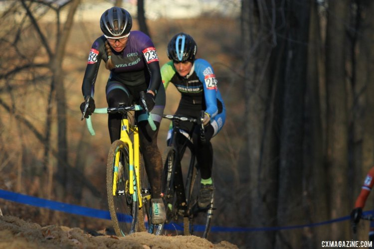 Amanda Schaper (Giro Sport Design) leads Carla Williams (Joes Bike Shop) on the climb. 2017 Cyclocross National Championships, Masters Women 30-34. © D. Mable / Cyclocross Magazine
