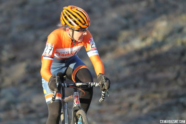 Stacy Kalemkiarian (Power Fix CX) had a good race and would finish the race in fourth place. 2017 Cyclocross National Championships, Masters Women 30-34. © D. Mable / Cyclocross Magazine