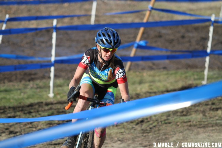 Weaving through the maze of blue tape, Christina Gokey-Smith led from early in the race to win the Women's 40-44 championship race. 2017 Cyclocross National Championships. ©D. Mable/Cyclocross Magazine