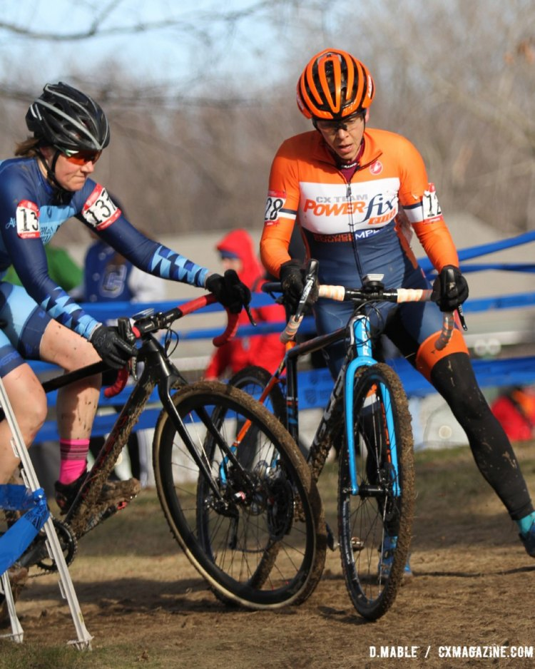 Jauron Vetter and Rebecca Ireland clash in a tight corner during the Women's 40-44 championship race on Thursday in Hartford. 2017 Cyclocross National Championships. ©D. Mable/Cyclocross Magazine