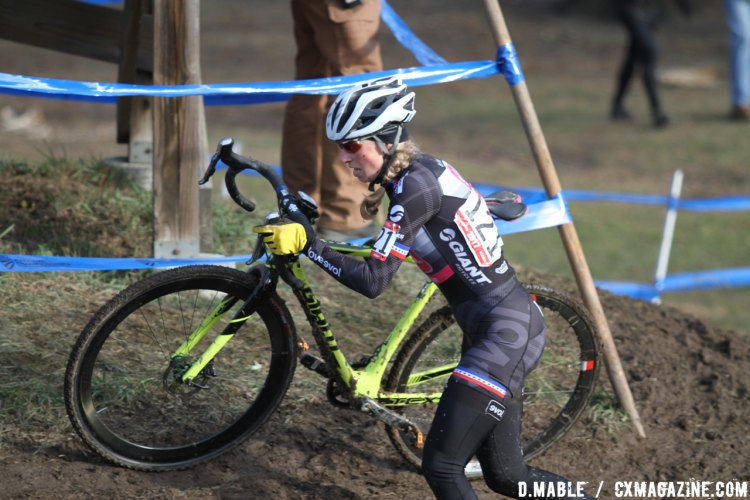 Melissa Barker of Colorado navigates a tough off-camber corner and finishes third in the Women's 40-44 championship race in Hartford, Conneticut. 2017 Cyclocross National Championships. ©D. Mable/Cyclocross Magazine