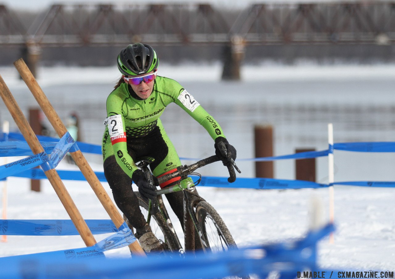 Katie Antonneau accelerates carefully in hot pursuit of Amanda Miller late in the race. 2017 Cyclocross National Championships © D. Mable / Cyclocross Magazine