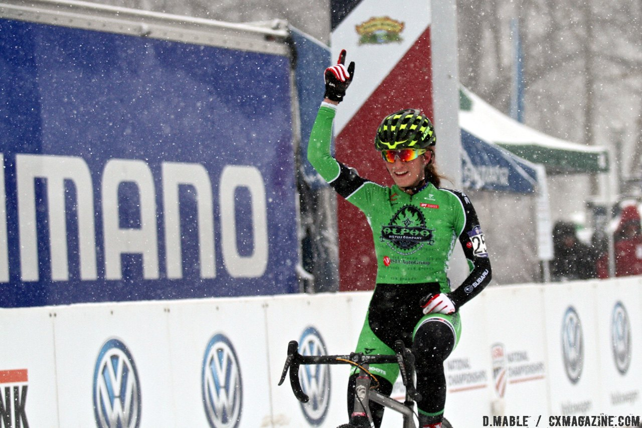 Katie Clouse finishes number one. 2017 Cyclocross National Championships, Junior Women 15-16. © D. Mable / Cyclocross Magazine