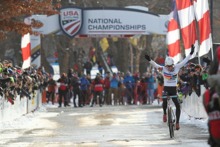 Katie Compton wins her lucky 13th Stars-and-Stripes jersey. © Cyclocross Magazine