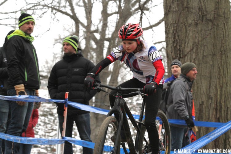 Greta Kilburn had a good race and would finish the day in third. 2017 Cyclocross National Championships, Junior Women 11-12. © D. Mable / Cyclocross Magazine