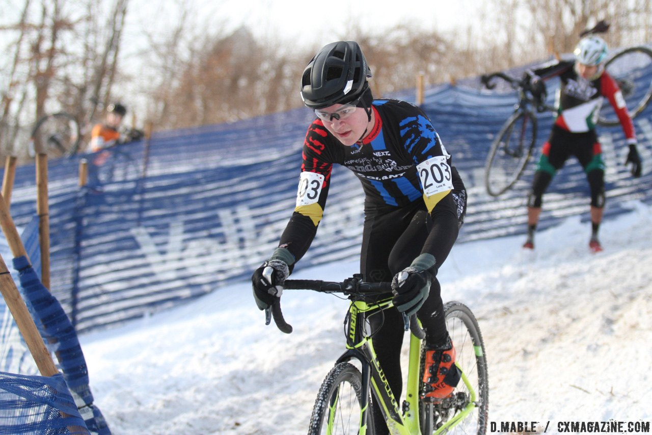 Lane Maher navigates through the snow on the chicane. 2017 Cyclocross National Championships - Junior Men 17-18. © D. Mable / Cyclocross Magazine