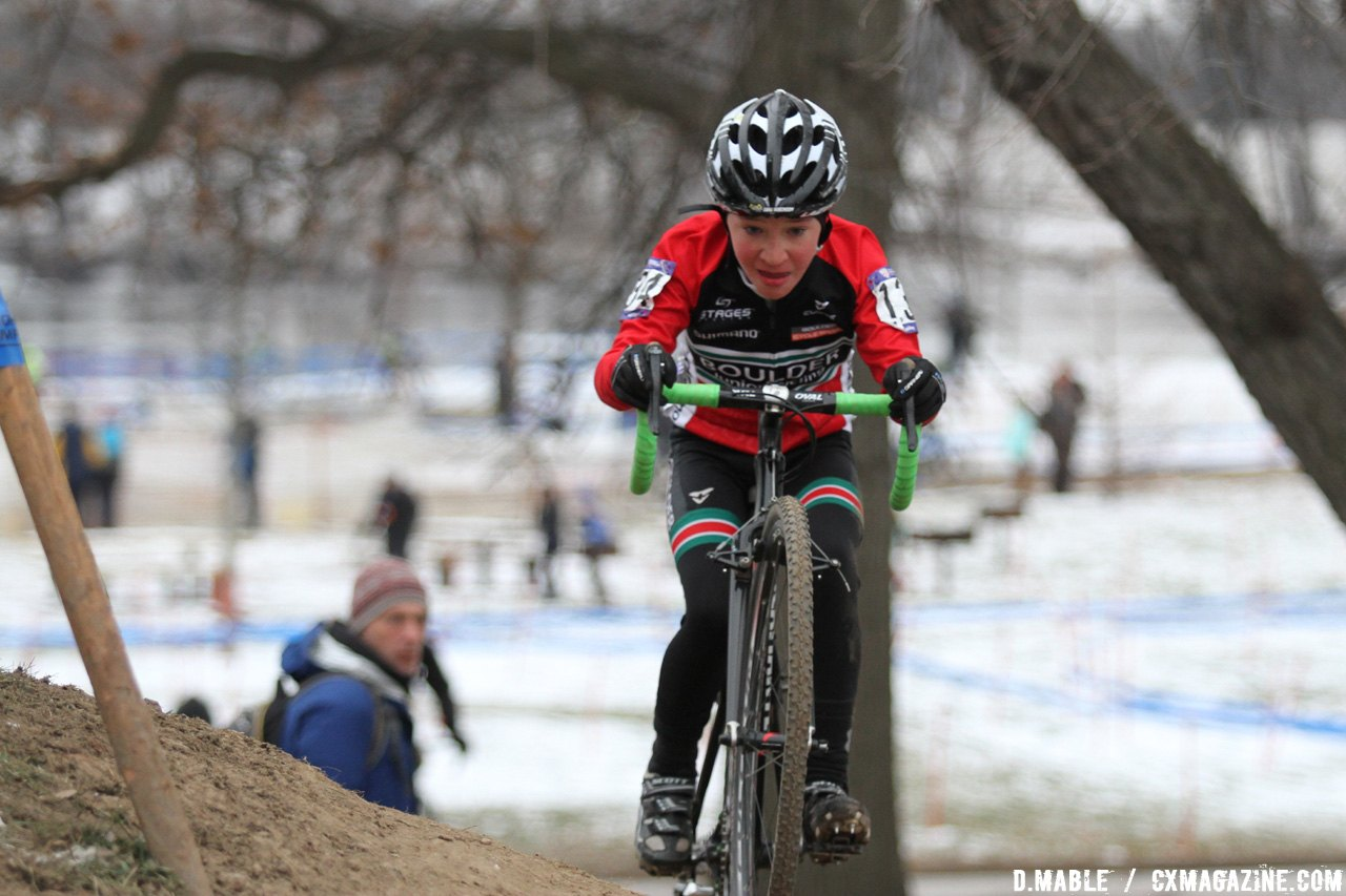 Magnus White (Boulder Junior Cycling) cleans the off-camber and would finish the race in third. 2017 Cyclocross National Championship Junior Men 11-12. © D. Mable / Cyclocross Magazine