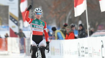 Denzel Stephenson has had a lot of chances to practice his victory salute this season. 2017 Cyclocross National Championships - Junior Men 17-18. © Cyclocross Magazine